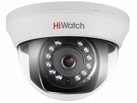 2Мп купольная HD-TVI видеокамера HiWatch с ИК-подсветкой до 20м - DS-T201 (2.8 mm)