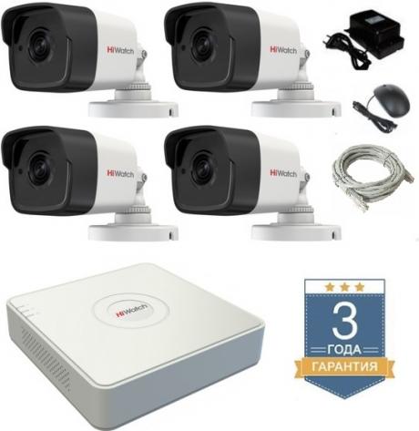 Комплект на 4 уличных IP камеры Hiwatch для дома и дачи